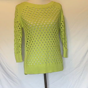 Stylus Vivid Green Open Knit Pullover Size Small